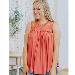 Allie Rose fit & flare coral blouse sleeveless med